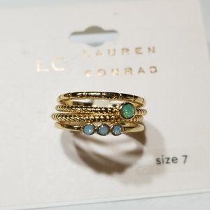 LC Lauren Conrad 4 Set Gold Tone Rings